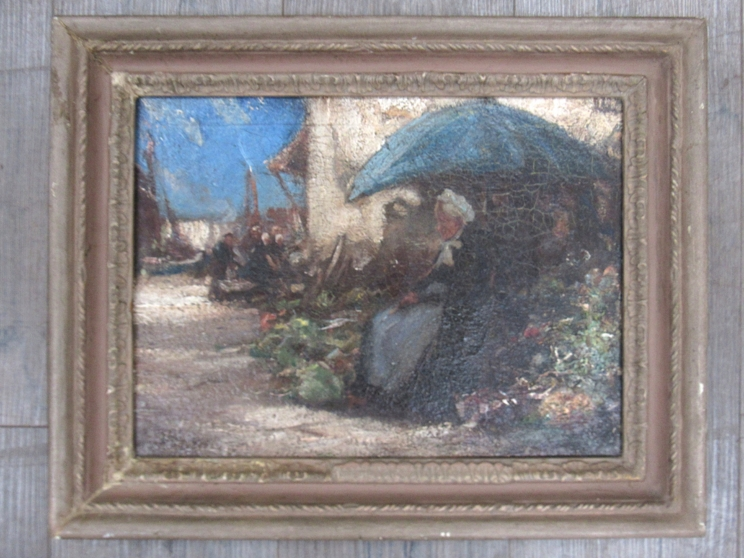 A 19th Century continental school oil on canvas depicting elderly lady market stall holder.