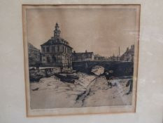 "ALFRED A BLUNDELL (1883-1968) : ""The Customs House, Kings Lynn"", engraving, 20/75,"