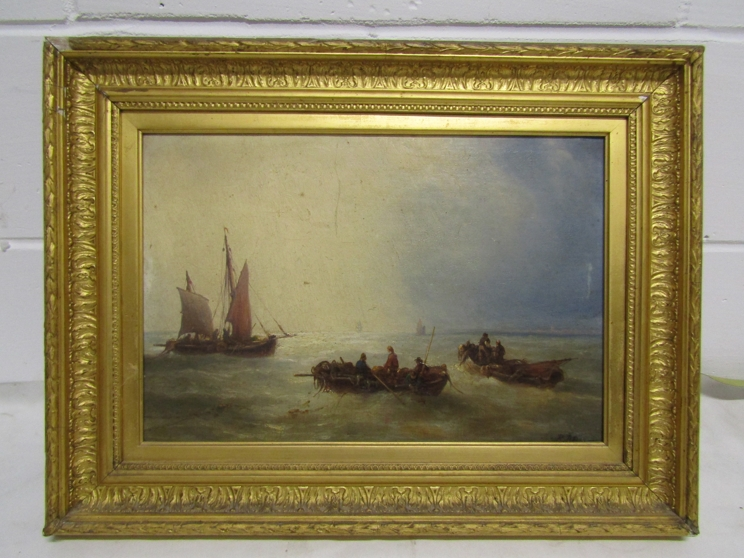 A 19th Century oil on canvas, rowing and sailboats in calm sea, monogrammed bottom right, - Image 3 of 4