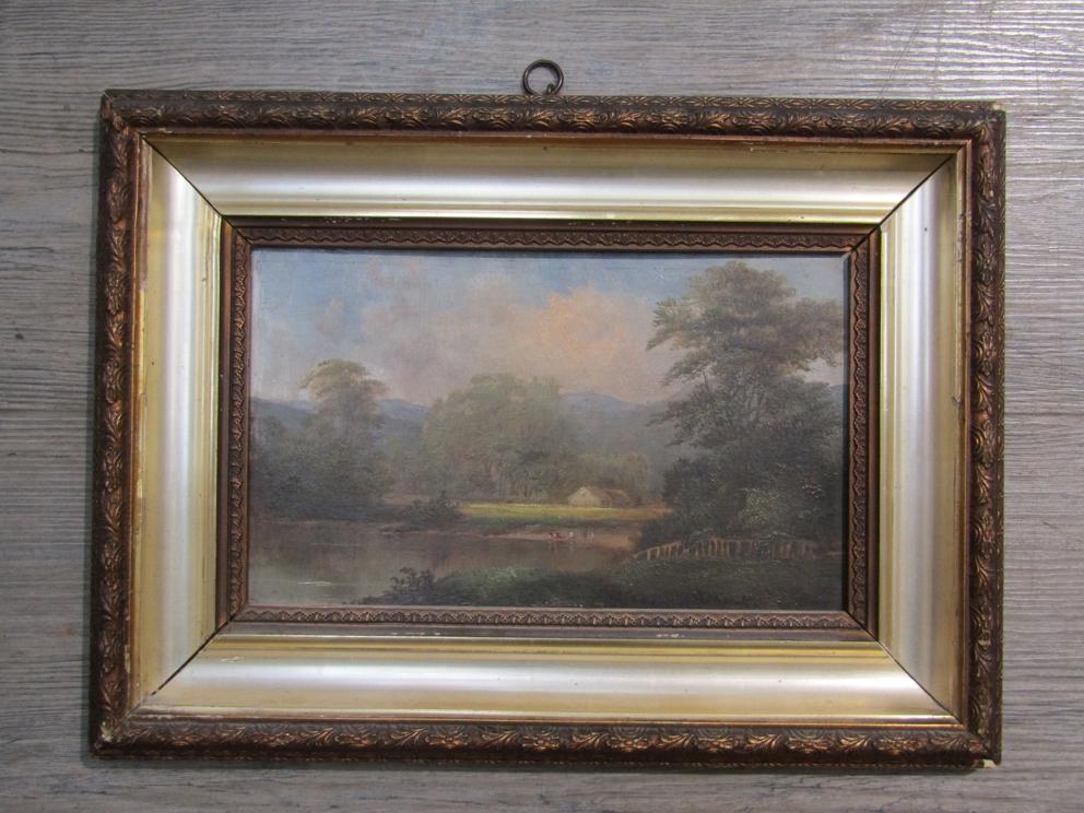 JOHN VARLEY (1778-1842) An ornate gilt framed oil on board, lakeland scene with figures.