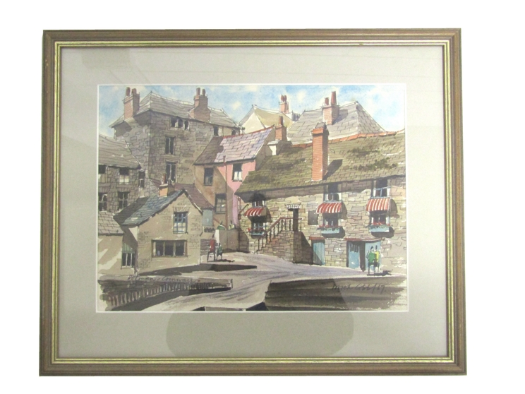 DEREK COBB (XX): A framed and glazed watercolour, Cornish village scene. Signed bottom right. - Image 3 of 5
