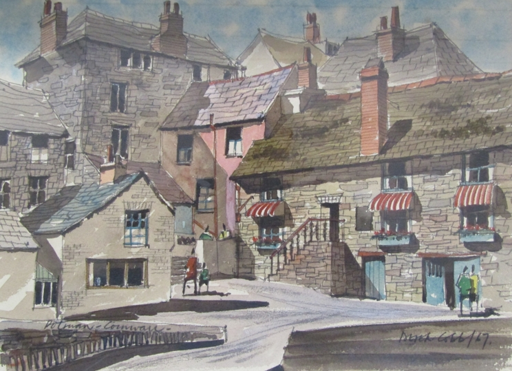 DEREK COBB (XX): A framed and glazed watercolour, Cornish village scene. Signed bottom right.
