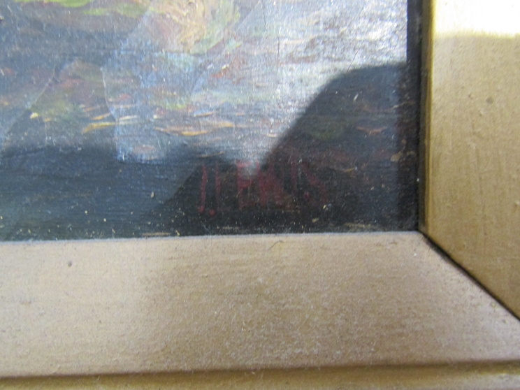 JAMES ISIAH LEWIS (1861-1934): Two ornate gilt framed oils, one on canvas of a watermill scene. - Image 3 of 5