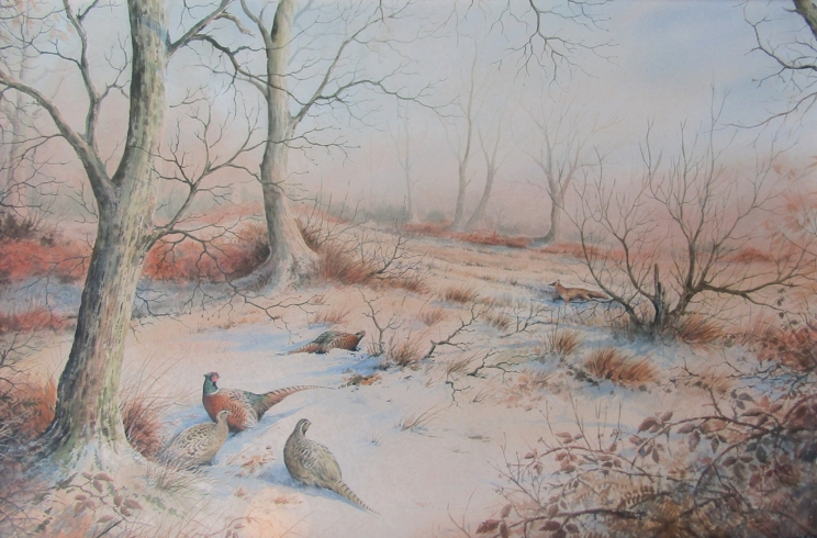 SIMON TRINDER (b.1958) A gilt framed watercolour, Pheasants in snow watching a fox.