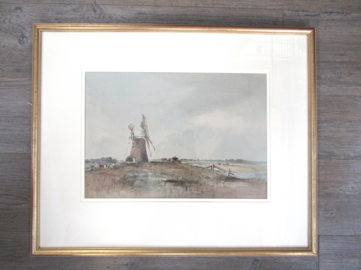 """ARTHUR EDWARD DAVIES (1893-1988): A framed and glazed watercolour, """"Reedham Mill & Marshes"""", signed. - Image 3 of 4"""