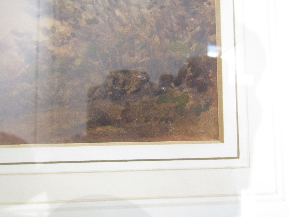 GEORGE FENNELL ROBSON (1788-1833): A framed and glazed watercolour depicting mountainous lake scene. - Image 2 of 4