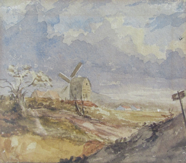 NORWICH SCHOOL, XIX CENTURY: A framed and glazed watercolour sketch of a Norfolk windmill. 12. - Image 2 of 4