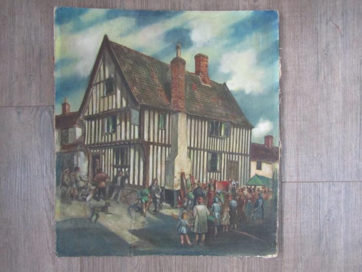 JAMES GOVIER (1910-1974) : An unframed Oil on board depicting a scene of Diss Market Place, Norfolk.