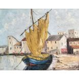 SHIRLEY CARNT (XX/XXI): A framed oil on board, Italian dock scene. Signed bottom right.