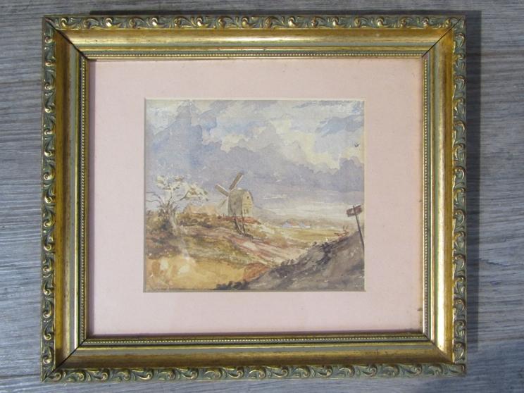 NORWICH SCHOOL, XIX CENTURY: A framed and glazed watercolour sketch of a Norfolk windmill. 12.