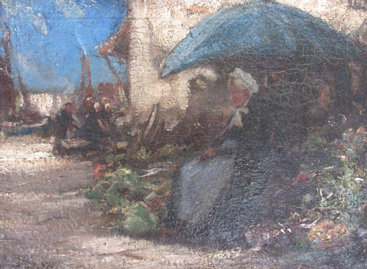 A 19th Century continental school oil on canvas depicting elderly lady market stall holder. - Image 2 of 4