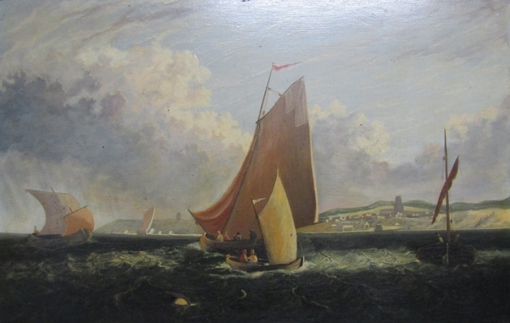 A 19th Century oil on board of sailboats beside the coastline, unsigned work. - Image 2 of 6
