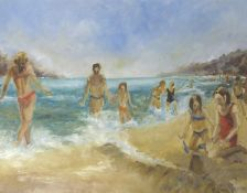 A. CHAUDURI (XX): A framed and glazed acrylic on board, figures on a beach. Signed bottom right.