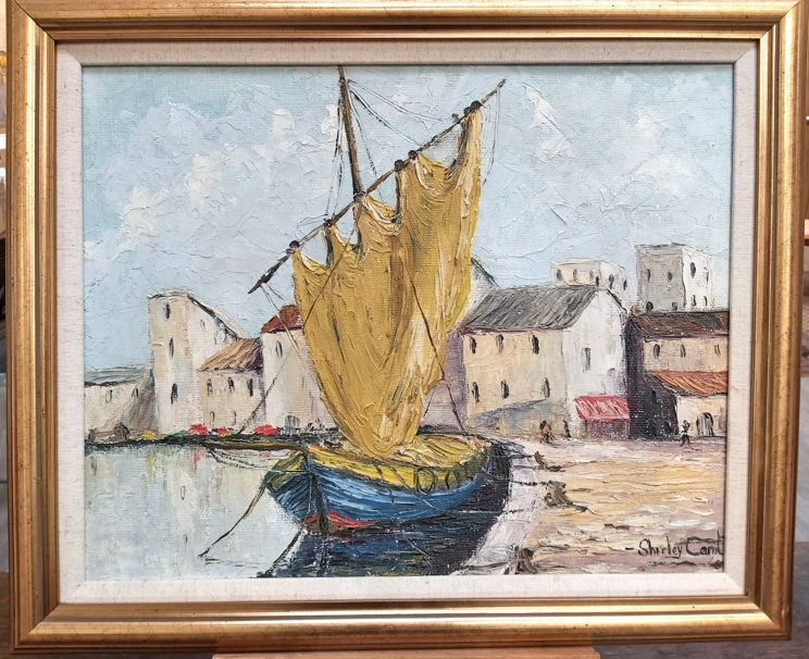 SHIRLEY CARNT (XX/XXI): A framed oil on board, Italian dock scene. Signed bottom right. - Image 3 of 3