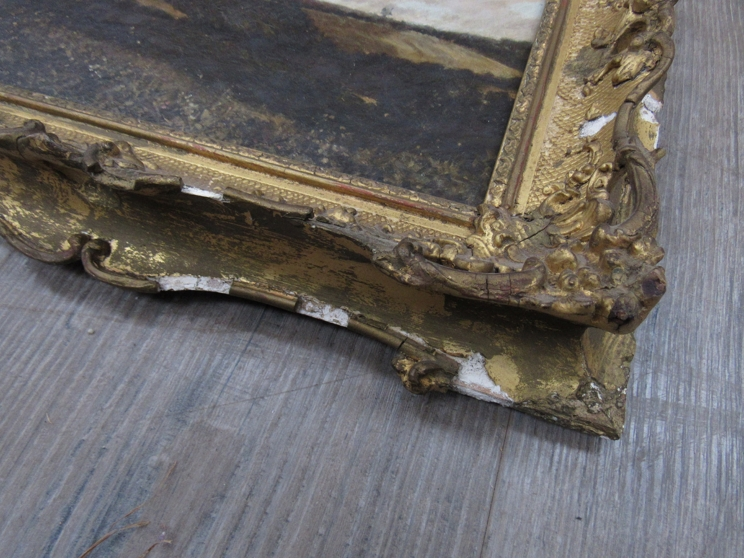 A 19th Century oil on canvas landscape scene set in ornate gilt frame (a/f). - Image 3 of 6