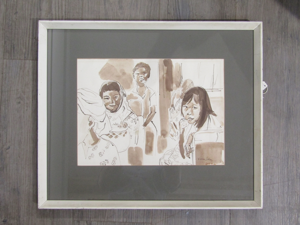 """VIVIEN JOHN (1915-1994): A framed and glazed sepia watercolour titled """"Passengers on a Bus""""."""