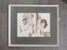 "VIVIEN JOHN (1915-1994): A framed and glazed sepia watercolour titled ""Passengers on a Bus""."