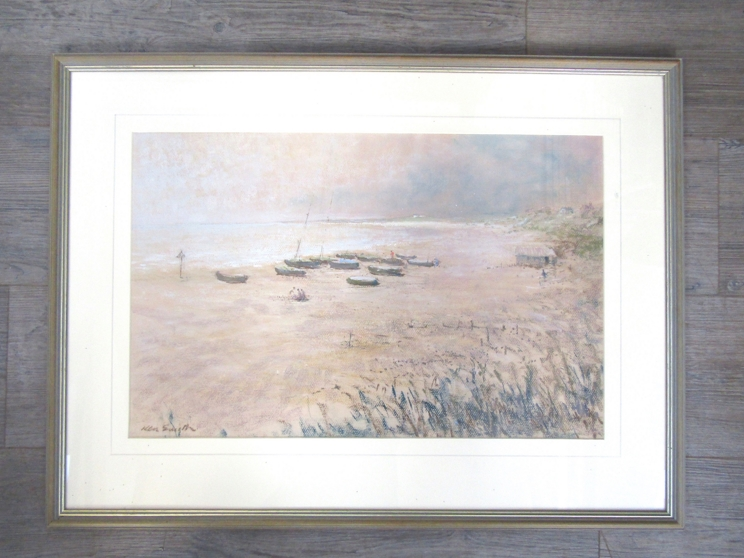 """KENNETH SMITH (XX): """"The Beach, Pakefield"""" - moored fishing boats on a sandy beach. - Image 3 of 5"""