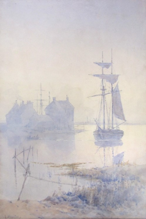A. MOULTON (XX): A masted ship moored in a misty bay. Watercolour. Faded. - Image 2 of 4