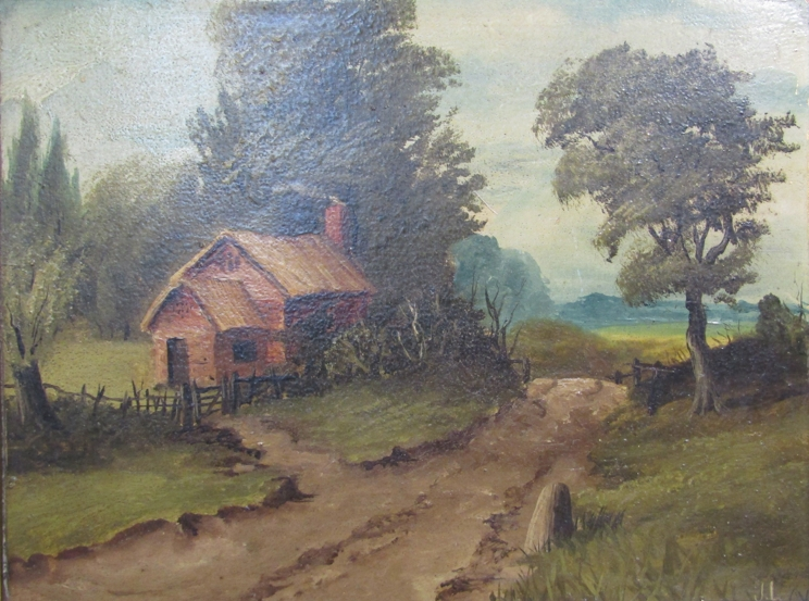 JAMES ISIAH LEWIS (1861-1934): Two ornate gilt framed oils, one on canvas of a watermill scene. - Image 4 of 5
