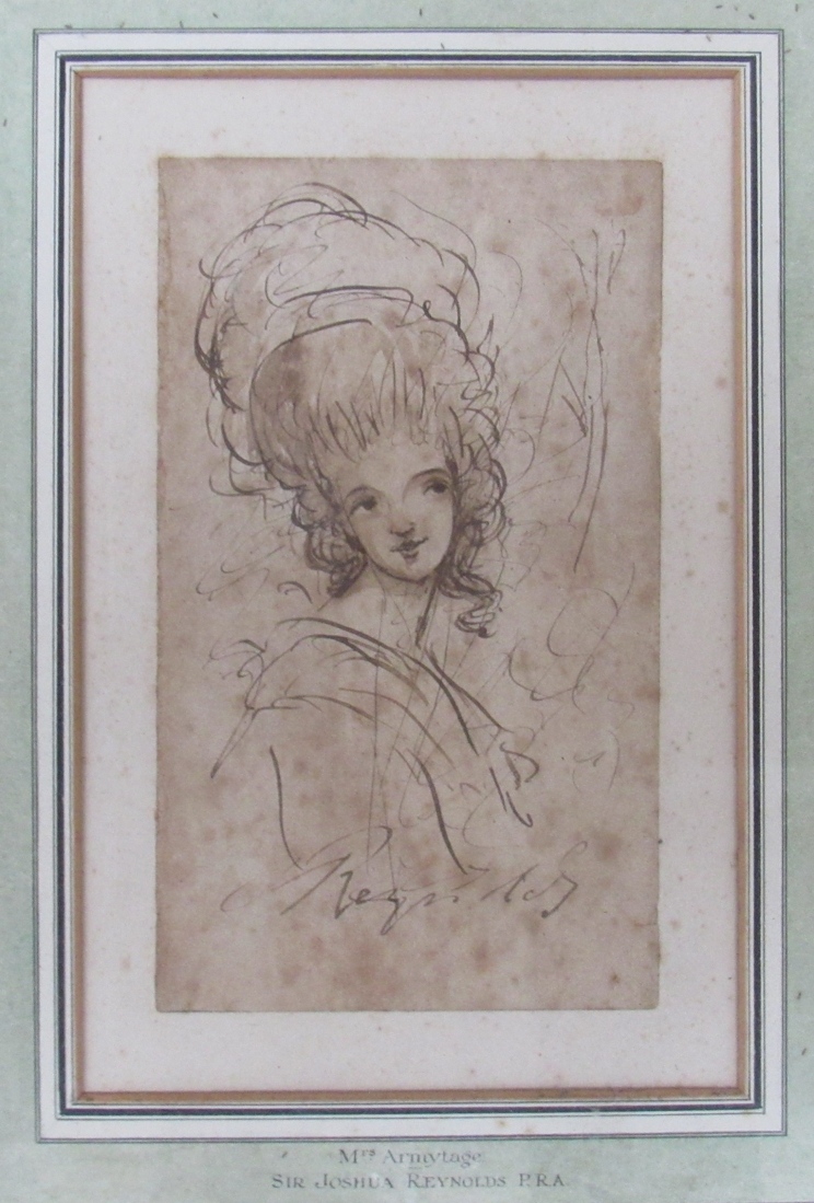 JOSHUA REYNOLDS (1723-1792) A head and shoulders sketch of a young woman in pen, - Image 7 of 8