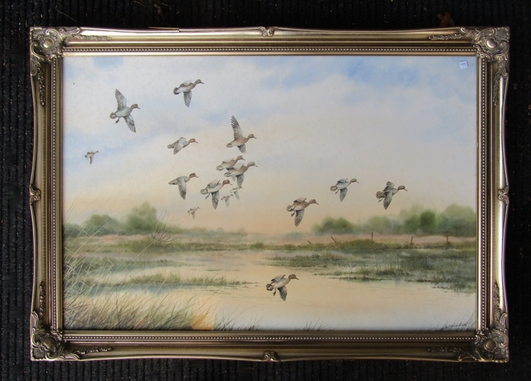 SIMON TRINDER (b.1958) A gilt framed watercolour, Teal coming in to land on water. - Image 3 of 5