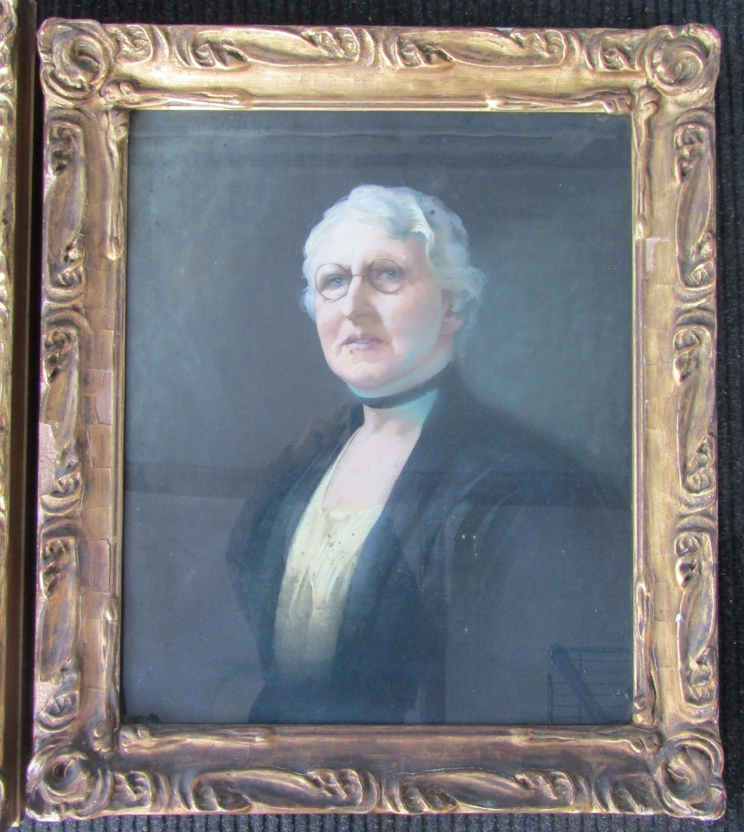 A pair of gilt framed and glazed portraits, one in oil on canvas, - Image 4 of 8