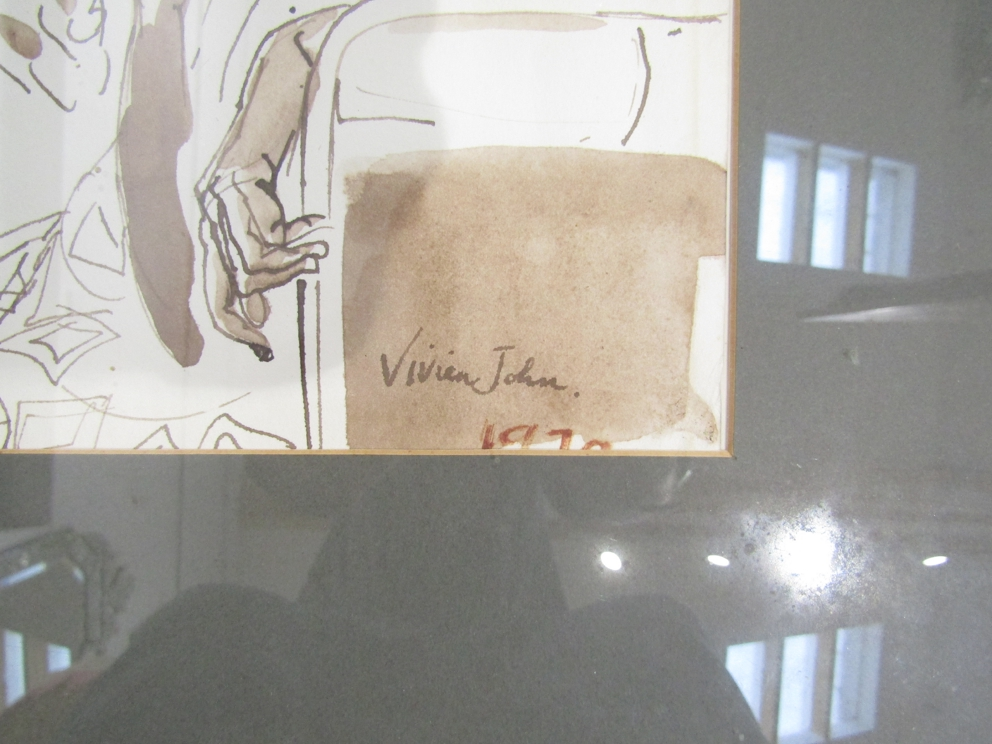 """VIVIEN JOHN (1915-1994): A framed and glazed sepia watercolour titled """"Passengers on a Bus"""". - Image 3 of 4"""