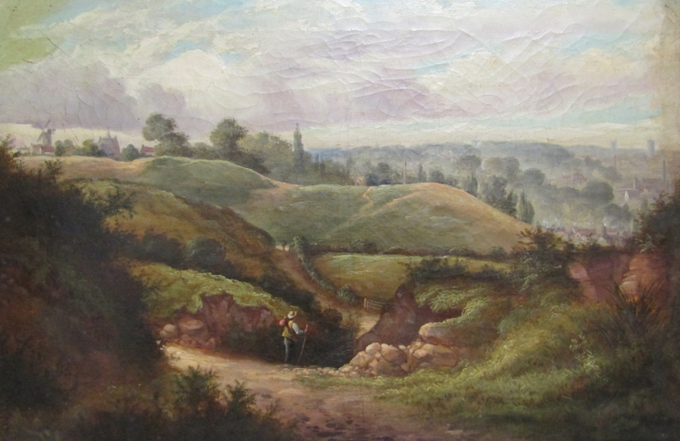 An oil on canvas of view over Mousehold heath 1884. 39cm x 59. - Image 2 of 6