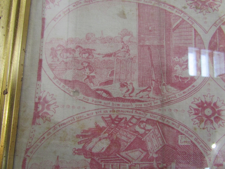 "A framed and glazed linen panel ""Bowles Moral Pictures, or Poor Richard Illustrated"", - Image 6 of 6"