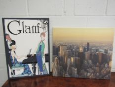 "A ""Glam"" canvas print, 70cm x 50cm, with a canvas print of the New York skyline,"