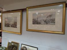 Four prints of Thames river scenes,