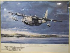 "A limited edition print after Michael Rondot ""The Last Sunderland"" depicting Short Sunderland"
