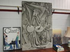 A large picture on canvas stretcher, figural scene,