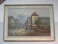Oil on canvas by Burnet, people walking across a square beside cafes in Paris, signed lower right,