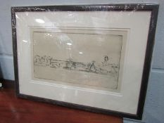 Harry Becker (1865-1952) Etching drypoint of farm cottages, framed and glazed,