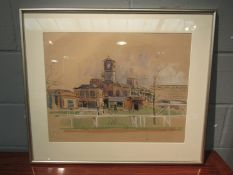 A framed and glazed watercolour and pencil study of racecourse buildings with rails and figures to
