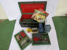 A collection of 1950's Meccano including boxed clockwork and electric motors, T20M transformer,