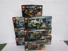 Ten Lego Technic Pull Back sets; 42073 Bash!, 42091 Police Pursuit (x2),