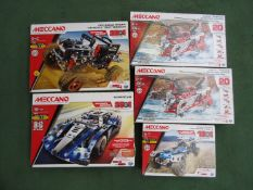Three unopened Meccano Engineering sets to include Off Road Racer,