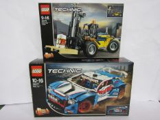 An unopened Lego Technic set 42079 Heavy Duty Forklift and set 42077 Rally Car (box a/f) (2)