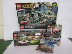Five Lego Speed Champions sets; 75883 Mercedes AMG Petronas Formula One Team,
