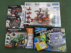 Five unopened educational construction toys including Clemontoni Robo Maker Pro,