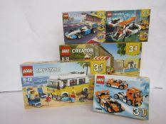 Five unopened Lego Creator sets; 31079, 31077, 31072, 31017,