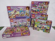 Six unopened Lego Friends sets; 41311, 41334, 41333 (x2),