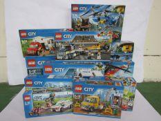 Eleven unopened Lego City sets; 60174, 60140, 60173, 60139, 60108, 60151, 60150, 60182, 7895,