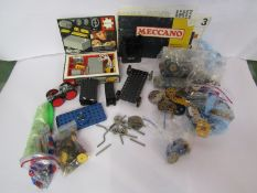 A box of assorted loose Meccano including motor,