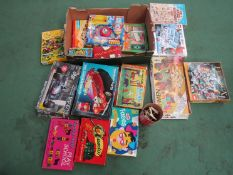 A box of mixed games, Lego,