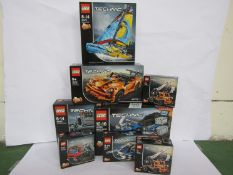 Eight unopened Lego Technic sets including 42063 BMW R 1200 GS Adventure, 42062 Container Yard,