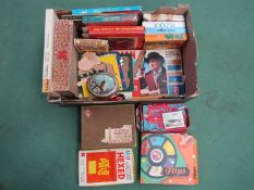 A box of mixed vintage games and jigsaws including magnetic fishing, Ludo,